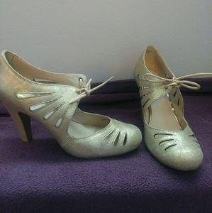 Gold art deco heels